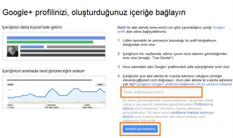 google autorship onay formu