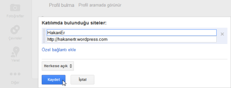 google profil katilimda bulundugu siteler