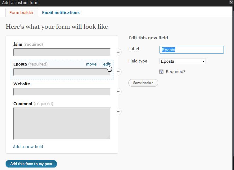Wordpress.com İletişim Formu Oluşturma (4/6)