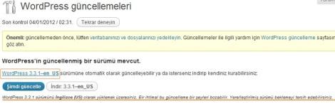 wordpress türkçe güncelleme