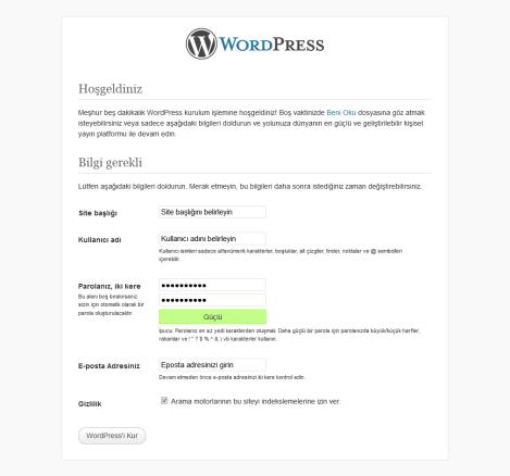 wordpress kurulum -1