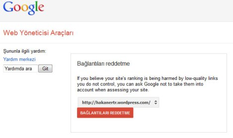 Google Bağlantıları Reddet Aracı