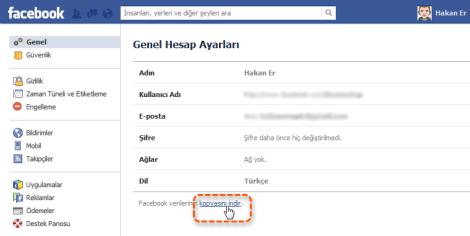 Facebook verilerinin kopyasını indir