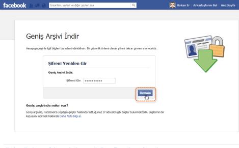 Facebook geniş arşiv şifre